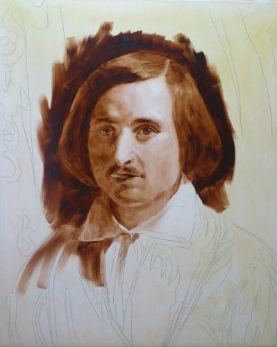 Урок по живописи. Подмалевок жженой умброй. Портрет в работе.