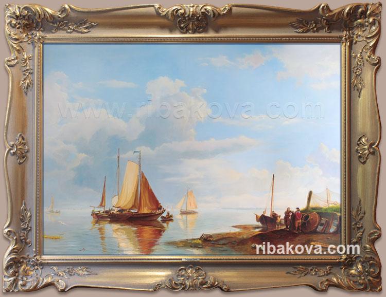 Морской голландский пейзаж, копия картины на заказ в Москве.