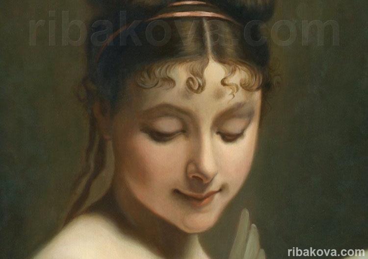 Портрет девушка с голубем