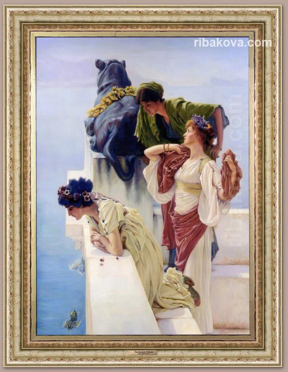 Античная жанровая сцена с девушками на балконе
