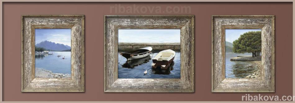 Море и лодки авторские картины маслом