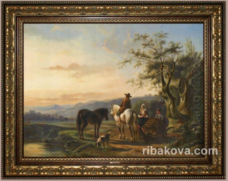Сельский голландский пейзаж, копия картины на заказ в Москве.