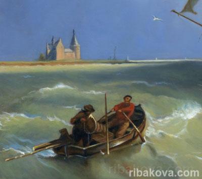 """Картина """"Шхуны в неспокойном море ...: www.ribakova.com/gallery?id=75"""